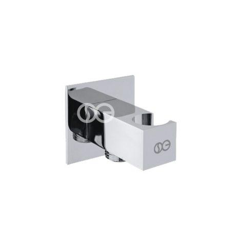 """SG402S - Presa acqua SQUARE con porta doccetta con attacco 1/2""""Gm in ottone cromato"""
