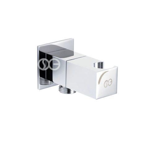 SG407S - Presa acqua SQUARE con porta doccetta e chiusura di sicurezza in ottone cromato