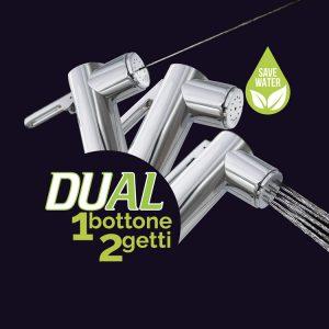 Dual: un bottone due getti: idroscopino e doccetta igienica - foto sequenza getti
